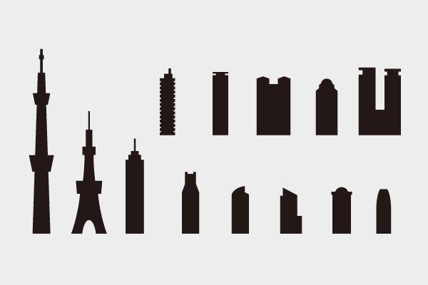 シルエットの建物つめ合わせ1 \u2013 街、建物系イラスト専門サイト