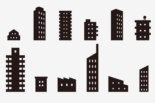 シルエットの建物つめ合わせ6 \u2013 街、建物系イラスト専門サイト