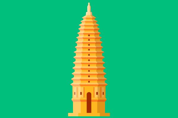 嵩岳寺塔のイラスト