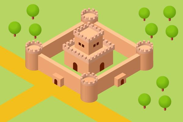 城の3Dイラスト